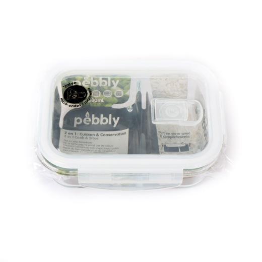 Boîte de conservation en verre, avec compartiments