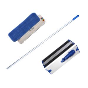 Kit de nettoyage pour sols : manche balai en aluminium et mop en microfibre