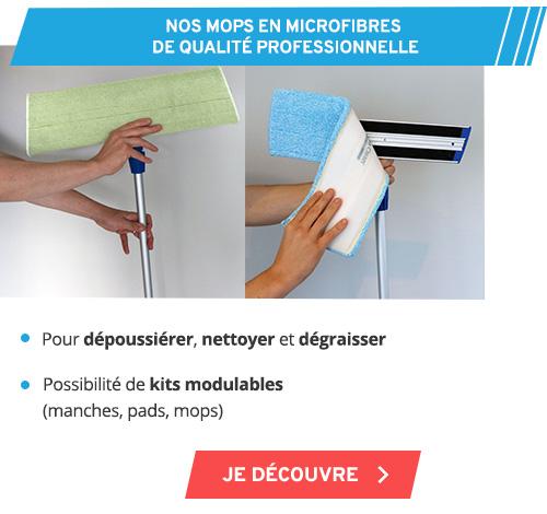 Mop microfibre attire et emprisonne saletés, graisses et moisissures